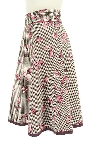 MISCH MASCH(ミッシュマッシュ)の古着「チェック×花柄膝下丈フレアスカート(スカート)」大画像3へ