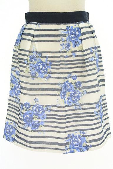 LAISSE PASSE(レッセパッセ)の古着「ボーダー×花柄オーガンジースカート(ミニスカート)」大画像1へ