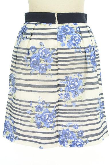LAISSE PASSE(レッセパッセ)の古着「ボーダー×花柄オーガンジースカート(ミニスカート)」大画像2へ