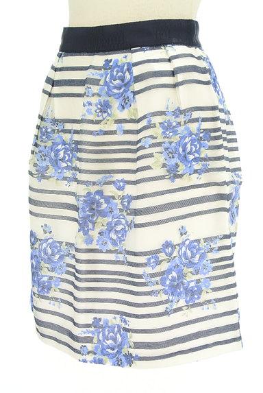 LAISSE PASSE(レッセパッセ)の古着「ボーダー×花柄オーガンジースカート(ミニスカート)」大画像3へ