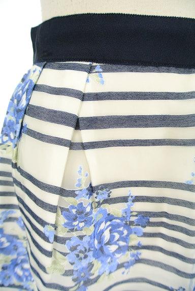LAISSE PASSE(レッセパッセ)の古着「ボーダー×花柄オーガンジースカート(ミニスカート)」大画像4へ