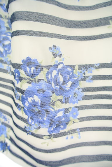 LAISSE PASSE(レッセパッセ)の古着「ボーダー×花柄オーガンジースカート(ミニスカート)」大画像5へ