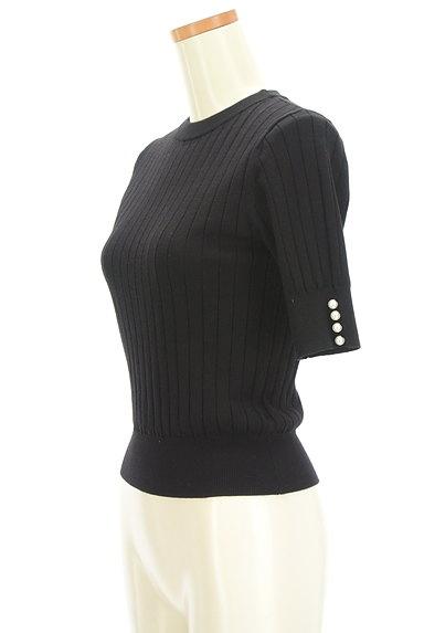 LAISSE PASSE(レッセパッセ)の古着「袖口パールベロアリボン五分袖ニット(ニット)」大画像3へ