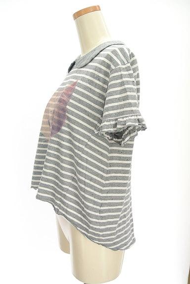 Candy Stripper(キャンディストリッパー)の古着「ネコプリント丸襟ボーダーカットソー(カットソー・プルオーバー)」大画像3へ
