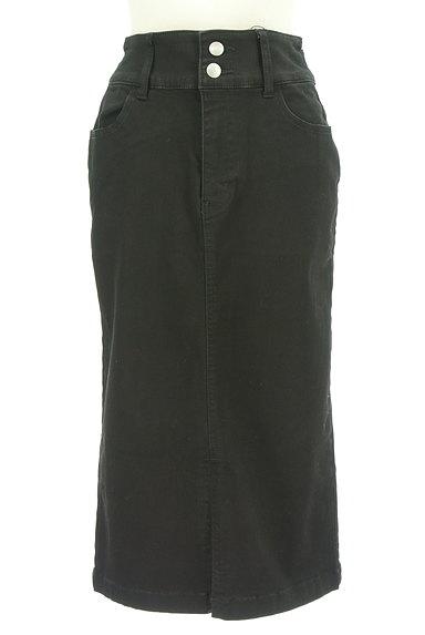 ROYAL PARTY(ロイヤルパーティ)の古着「ブラックデニムスリットスカート(ロングスカート・マキシスカート)」大画像1へ