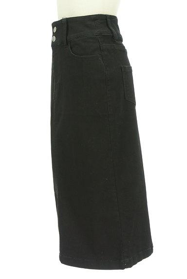 ROYAL PARTY(ロイヤルパーティ)の古着「ブラックデニムスリットスカート(ロングスカート・マキシスカート)」大画像3へ