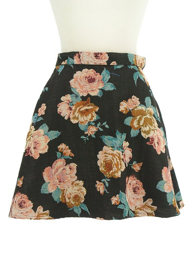 rienda(リエンダ)の古着「花柄ジャガード膝上丈フレアスカート(ミニスカート)」大画像1へ