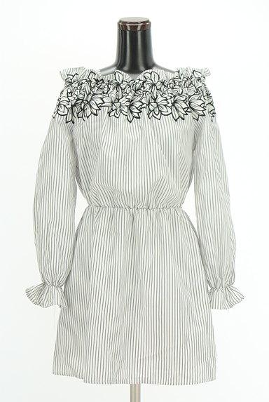 rienda(リエンダ)の古着「刺繍ストライプ柄オフショルカットソー(カットソー・プルオーバー)」大画像1へ