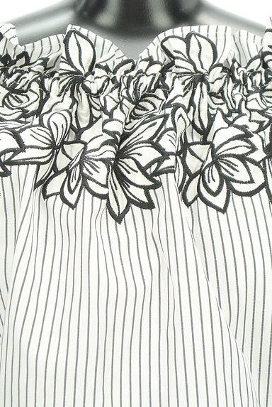 rienda(リエンダ)の古着「刺繍ストライプ柄オフショルカットソー(カットソー・プルオーバー)」大画像4へ