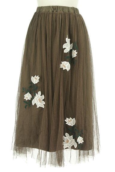 rienda(リエンダ)の古着「花刺繍ミモレ丈チュールスカート(ロングスカート・マキシスカート)」大画像1へ