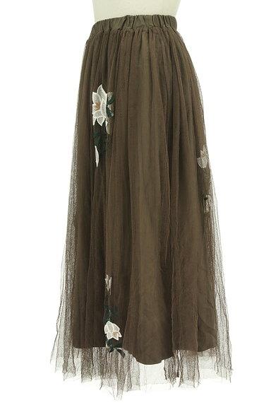 rienda(リエンダ)の古着「花刺繍ミモレ丈チュールスカート(ロングスカート・マキシスカート)」大画像3へ