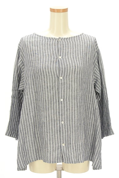 style+confort(スティールエコンフォール)の古着「ストライプリネン2WAYシャツ(カジュアルシャツ)」大画像1へ