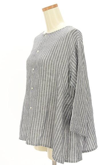 style+confort(スティールエコンフォール)の古着「ストライプリネン2WAYシャツ(カジュアルシャツ)」大画像3へ