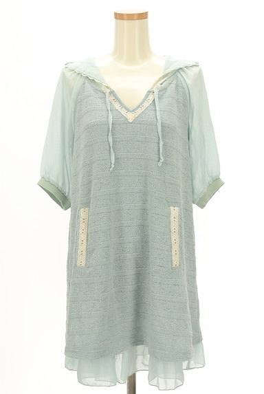 axes femme(アクシーズファム)の古着「袖シースルーフード付き異素材半袖チュニック(カットソー・プルオーバー)」大画像1へ