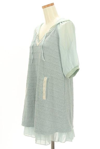 axes femme(アクシーズファム)の古着「袖シースルーフード付き異素材半袖チュニック(カットソー・プルオーバー)」大画像3へ