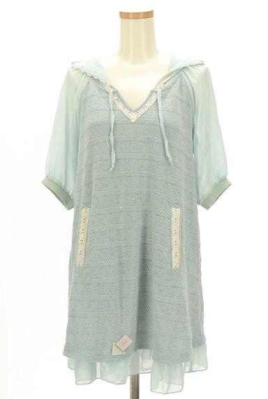 axes femme(アクシーズファム)の古着「袖シースルーフード付き異素材半袖チュニック(カットソー・プルオーバー)」大画像4へ