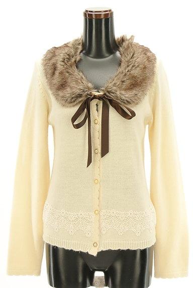 axes femme(アクシーズファム)の古着「刺繍レース入りファーカーディガン(カーディガン・ボレロ)」大画像1へ