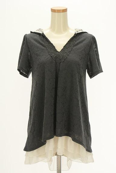axes femme(アクシーズファム)の古着「バックプリーツ総レースフード付き半袖プルオーバー(カットソー・プルオーバー)」大画像1へ