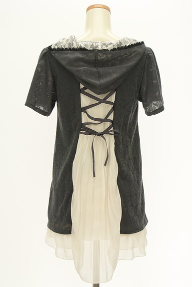 axes femme(アクシーズファム)の古着「バックプリーツ総レースフード付き半袖プルオーバー(カットソー・プルオーバー)」大画像2へ