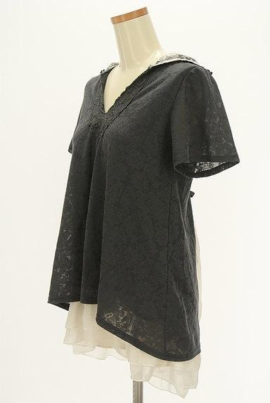axes femme(アクシーズファム)の古着「バックプリーツ総レースフード付き半袖プルオーバー(カットソー・プルオーバー)」大画像3へ