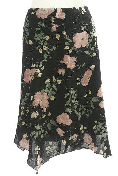 LOUNIE(ルーニィ)の古着「イレヘム花柄ベロアスカート(スカート)」大画像1へ