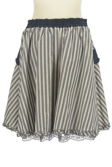 axes femme(アクシーズファム)の古着「フリル&レースストライプ柄フレアスカート(スカート)」大画像2へ