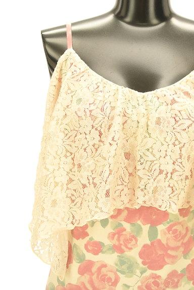rienda(リエンダ)の古着「刺繍レース×ローズ柄ミニワンピ(キャミワンピース)」大画像4へ