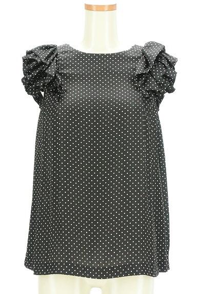 DOUBLE STANDARD CLOTHING(ダブルスタンダードクロージング)の古着「微光沢ドット柄フリル袖カットソー(カットソー・プルオーバー)」大画像1へ