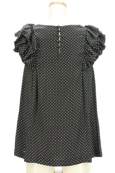 DOUBLE STANDARD CLOTHING(ダブルスタンダードクロージング)の古着「微光沢ドット柄フリル袖カットソー(カットソー・プルオーバー)」大画像2へ
