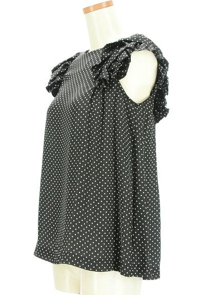 DOUBLE STANDARD CLOTHING(ダブルスタンダードクロージング)の古着「微光沢ドット柄フリル袖カットソー(カットソー・プルオーバー)」大画像3へ