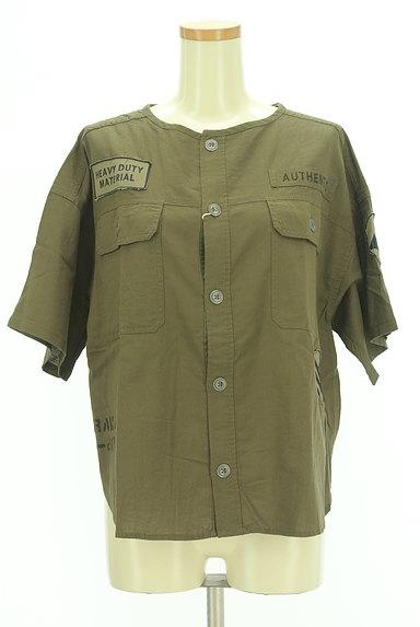 CUBE SUGAR(キューブシュガー)の古着「ワッペン付きノーカラーシャツ(カジュアルシャツ)」大画像1へ