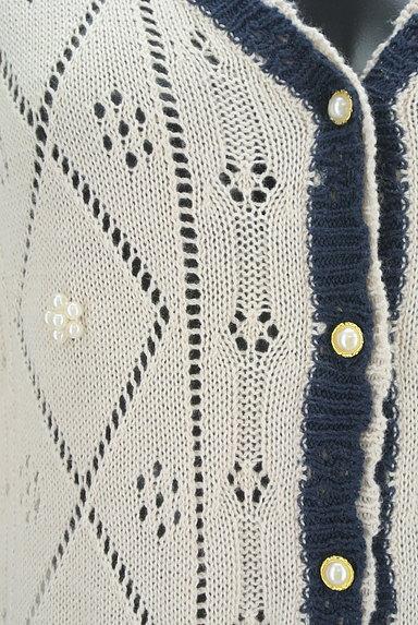 axes femme(アクシーズファム)の古着「アーガイルチェック透かし編みカーディガン(カーディガン・ボレロ)」大画像4へ