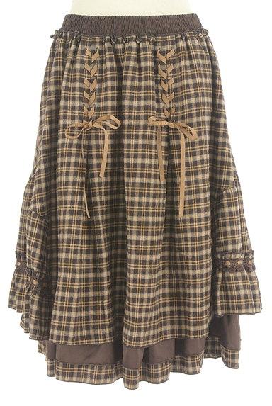 axes femme(アクシーズファム)の古着「レースアップチェック柄膝下丈スカート(スカート)」大画像1へ