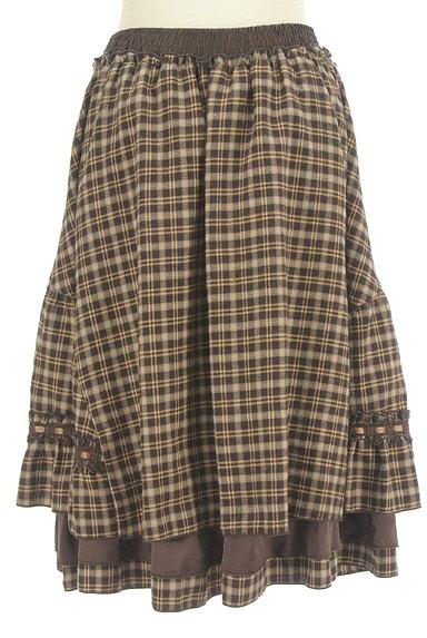 axes femme(アクシーズファム)の古着「レースアップチェック柄膝下丈スカート(スカート)」大画像2へ