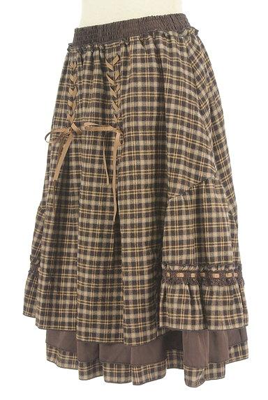 axes femme(アクシーズファム)の古着「レースアップチェック柄膝下丈スカート(スカート)」大画像3へ