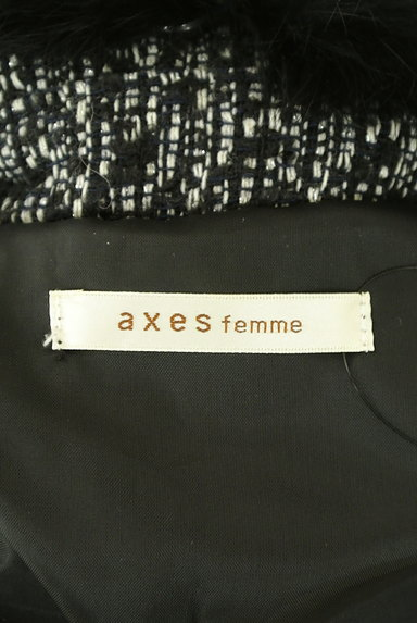 axes femme(アクシーズファム)の古着「ファー襟ベルト付きラメフレアコート(コート)」大画像6へ