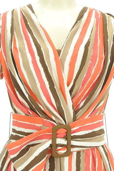 Viaggio Blu(ビアッジョブルー)の古着「膝下丈ベルト付きストライプ柄ワンピ(ワンピース・チュニック)」大画像4へ