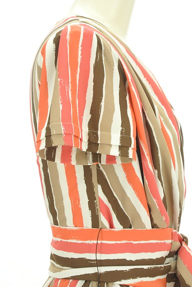 Viaggio Blu(ビアッジョブルー)の古着「膝下丈ベルト付きストライプ柄ワンピ(ワンピース・チュニック)」大画像5へ