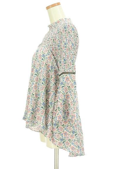 Snidel(スナイデル)の古着「バンドカラーフレア袖花柄カットソー(カットソー・プルオーバー)」大画像3へ
