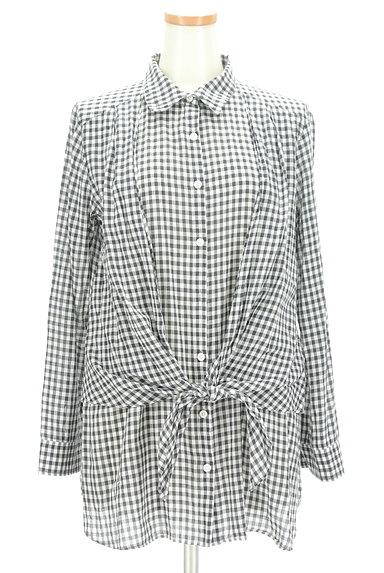 LOUNIE(ルーニィ)の古着「ウエストリボンチェック柄ロングシャツ(カジュアルシャツ)」大画像1へ