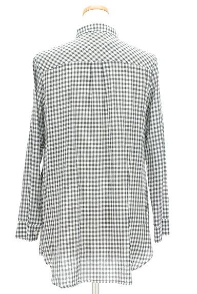 LOUNIE(ルーニィ)の古着「ウエストリボンチェック柄ロングシャツ(カジュアルシャツ)」大画像2へ