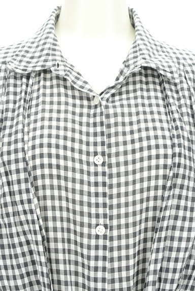 LOUNIE(ルーニィ)の古着「ウエストリボンチェック柄ロングシャツ(カジュアルシャツ)」大画像4へ