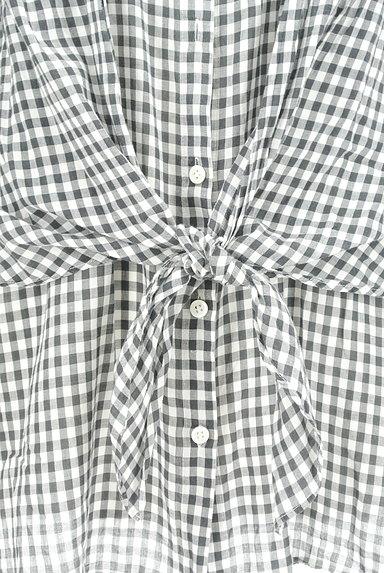 LOUNIE(ルーニィ)の古着「ウエストリボンチェック柄ロングシャツ(カジュアルシャツ)」大画像5へ