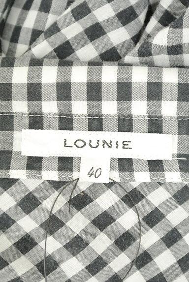 LOUNIE(ルーニィ)の古着「ウエストリボンチェック柄ロングシャツ(カジュアルシャツ)」大画像6へ