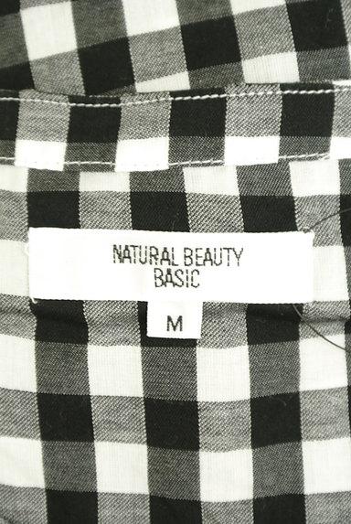 NATURAL BEAUTY BASIC(ナチュラルビューティベーシック)の古着「ウエストリボンフチェック柄ブラウス(カットソー・プルオーバー)」大画像6へ