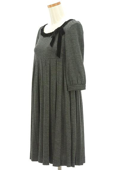 STRAWBERRY-FIELDS(ストロベリーフィールズ)の古着「ベロアリボン七分袖ワンピース(ワンピース・チュニック)」大画像3へ