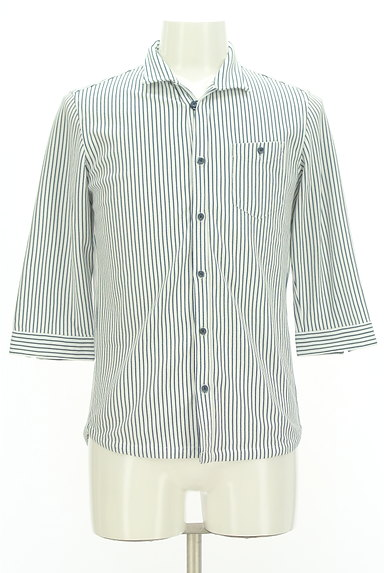 NICOLE(ニコル)の古着「ストライプ柄七分袖鹿の子シャツ(カジュアルシャツ)」大画像1へ