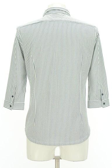 NICOLE(ニコル)の古着「ストライプ柄七分袖鹿の子シャツ(カジュアルシャツ)」大画像2へ