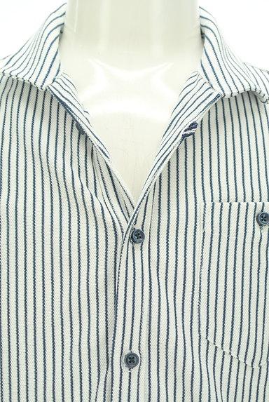 NICOLE(ニコル)の古着「ストライプ柄七分袖鹿の子シャツ(カジュアルシャツ)」大画像4へ
