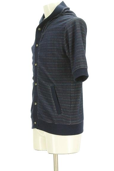 NICOLE(ニコル)の古着「ボーダー五分袖フーディカーディガン(カーディガン)」大画像3へ